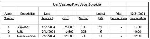 Fixed Asset Schedule